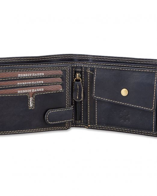Hochwertige robuste Geldbörse in Schwarz aus Wasserbüffelleder, Querformat, Adler Motiv