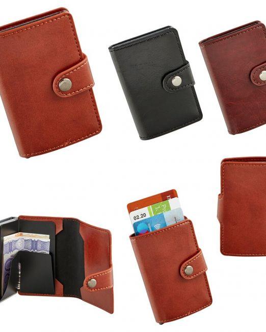 Kreditkartenetui aus Kunstleder Portmonee RFID Blocker für 6 Karten