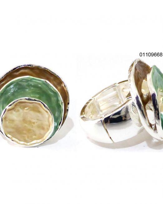 Elastischer Zugring Ring rhodiniert, nickel-cadmium-bleifrei, antiallergisch 3 farbig braun/grün/gold