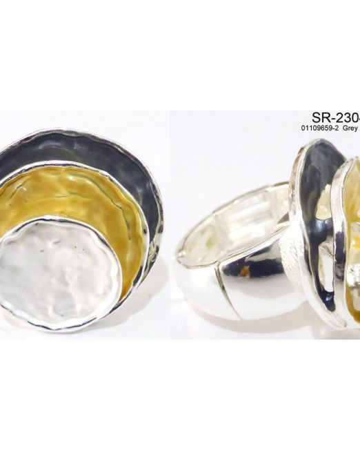 Elastischer Zugring Ring rhodiniert, elastisch, nickel-cadmium-bleifrei, antiallergisch  3 farbiger Zugring Anthrazit – Gelb – Silber