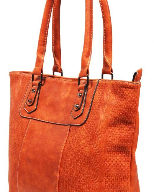 Damenhandtasche Lederimitat Orange Format 43x32x12 cm