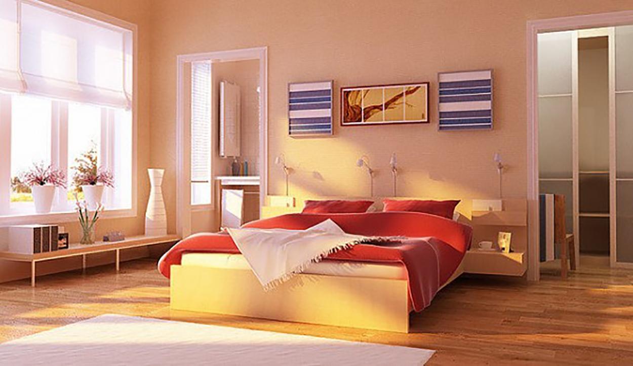 Dormitorio color rosaceo