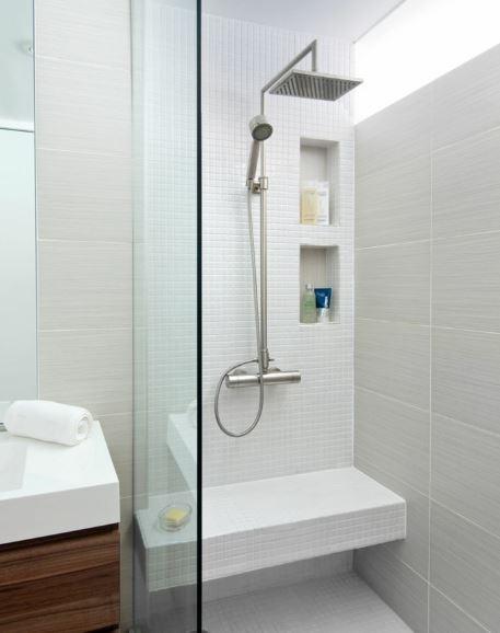 Plato ducha con asiento gresite gris