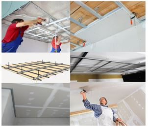 Albañiles instalando un falso techo con pladur y otro con placas de escayola de yeso