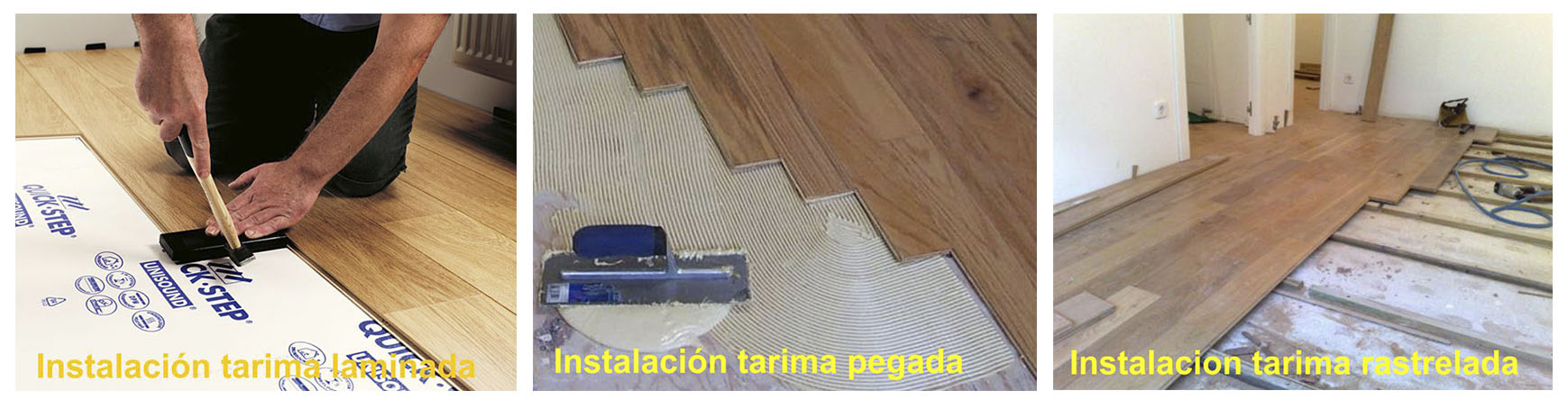 Arcolínea: Montador instalando una tarima laminada, otra tarima pegada y otra tarima rastrelada