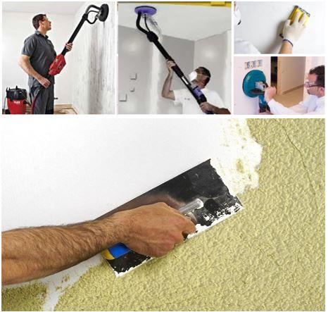 Arcolínea: Pintores lijando el gotelet con lijadora jirafa y alisando paredes y techos.