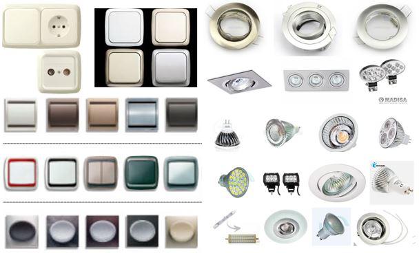 Mecanismos varios que usan nuestros electricistas, llaves, enchufes, halógenos, Led.