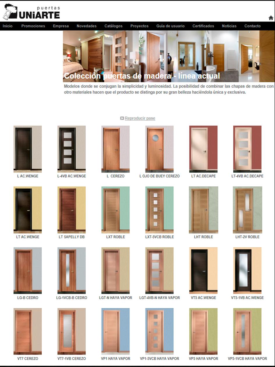 Puertas, armarios y molduras. Arcolínea: acceso a URL de puertas Uniarte con foto página principal de UNIARTE