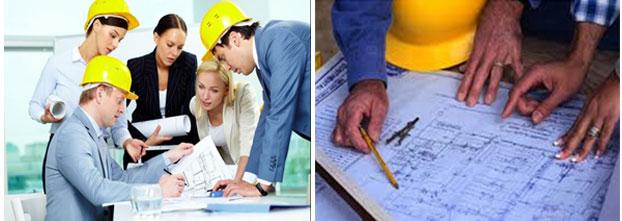 Arcolínea: Oficios, obras y reformas. Dos fotografías con técnicos, aparejadores y arquitectos, realizando labores de revisión y control en obra