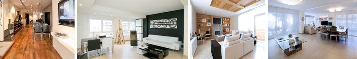 Arcolinea: Quiénes somos. Cuatro fotos de reformas generales o integrales de salones obras interiores modernas.