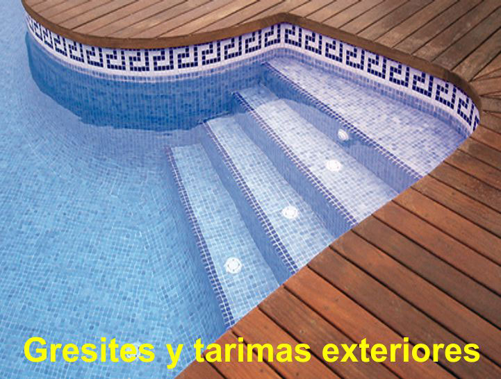 Arcolinea: Obras y reformas. Gresite en piscina y tarimas exteriores