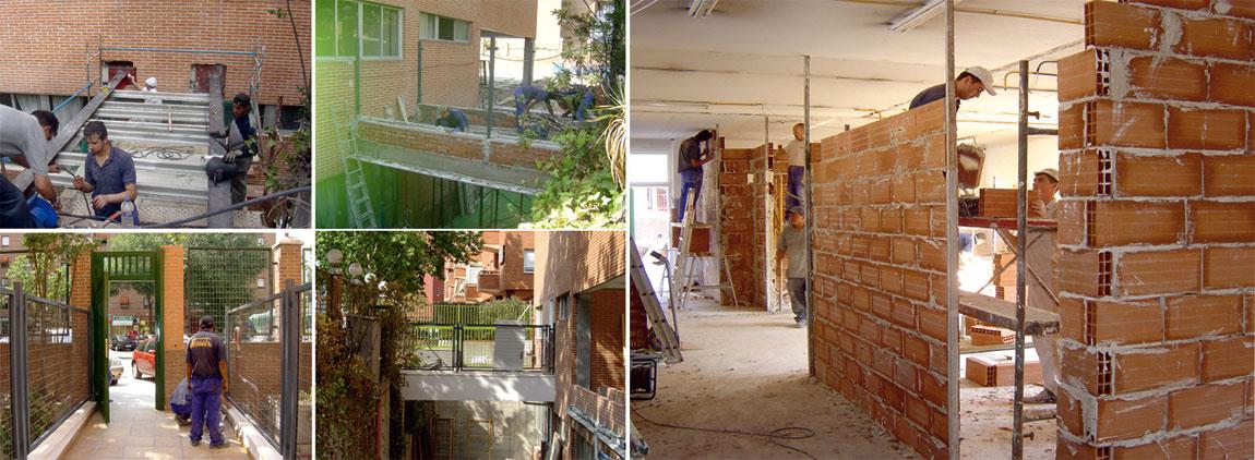 Arcolinea: Servicios y reformas. Mano de obra de varios oficios de construcción. Ejecutando una pasarela de colegio y tabiques de ladrillo de varias salas de distribución.