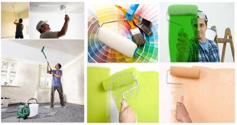 Arcolínea: Oficiales pintores pintando paredes y techos con rodillos, en blanco y colores varios