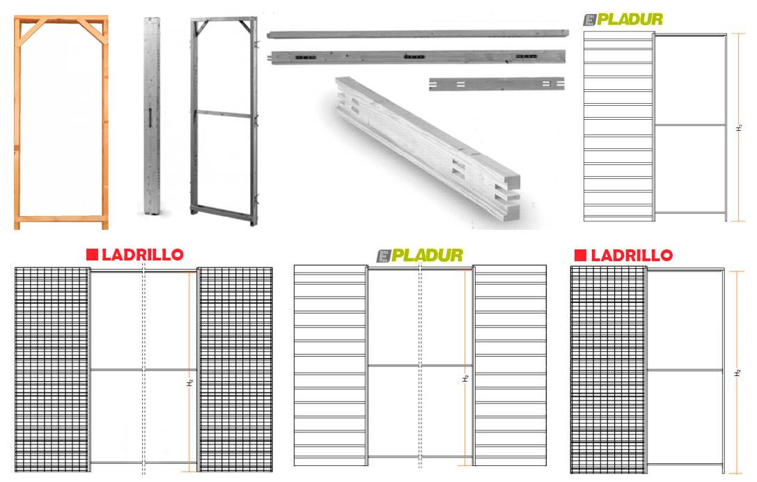 Puertas, armarios y molduras. Arcolínea: Precerco madera, estructuras varias para puertas corredera, sencillas y dobles tipo casoneto