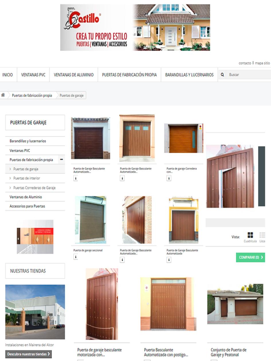 Puertas, armarios y molduras. Arcolínea: acceso a URL de puertas Castillo con foto pagina principal de CASTILLO