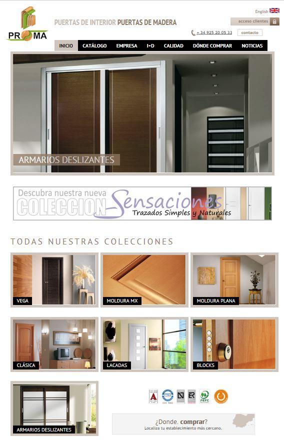 Puertas, armarios y molduras. Arcolínea: acceso a URL de puertas PROMA con foto página principal de PROMA