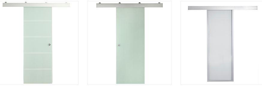 Puertas, armarios y molduras. Arcolínea: Puertas correderas de cristal con herrajes vistos de acero por fuera.