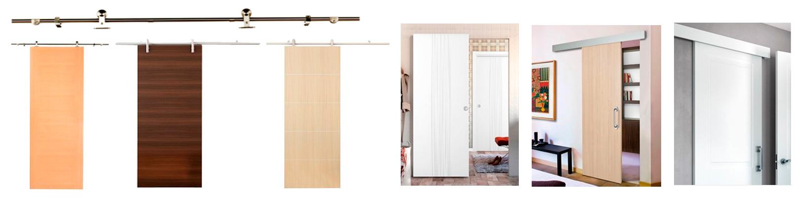 Puertas, armarios y molduras. Arcolínea: Puertas correderas de madera con herrajes vistos de acero.
