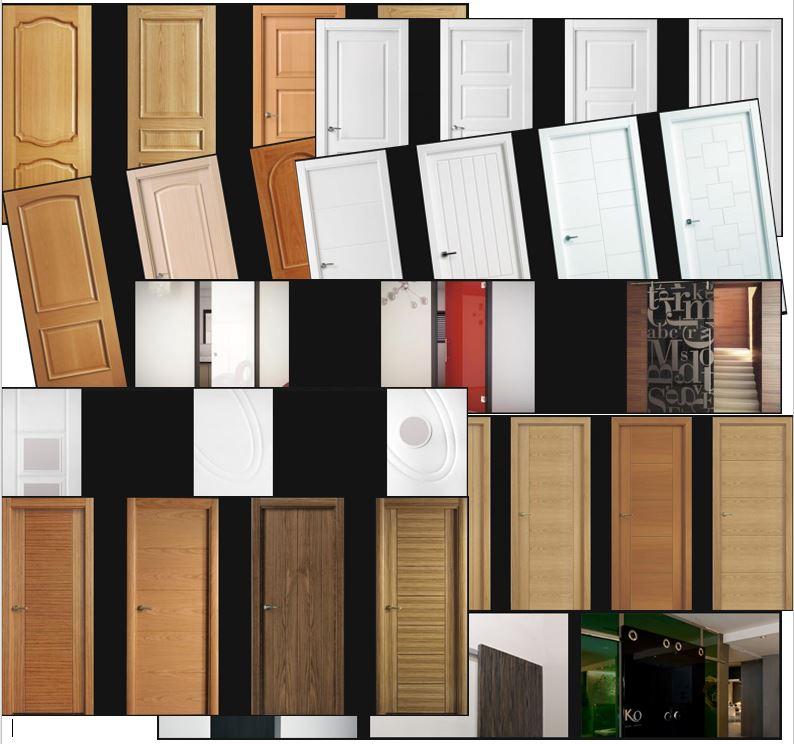 Todos los tipos de puertas, armarios y molduras distintos de paso o interior.