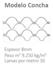 Detalle modelo concha, cierre metálico