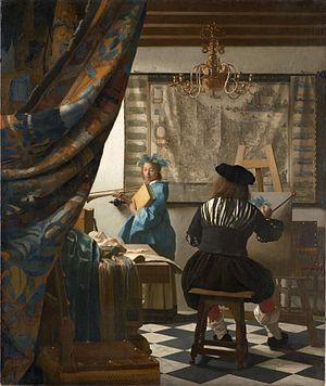 Imagen clásica 2: Pintor pintando un retrato de mujer en dormitorio (Arcolinea)