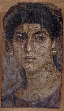 Mosaico con el retrato de la cabeza de una mujer clásica (Arcolinea)
