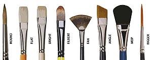 Varias clases de pinceles de pintor. (Arcolinea)