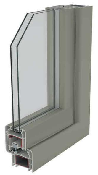 Detalle con doble acristalamiento de una ventana Zendow de PVC.