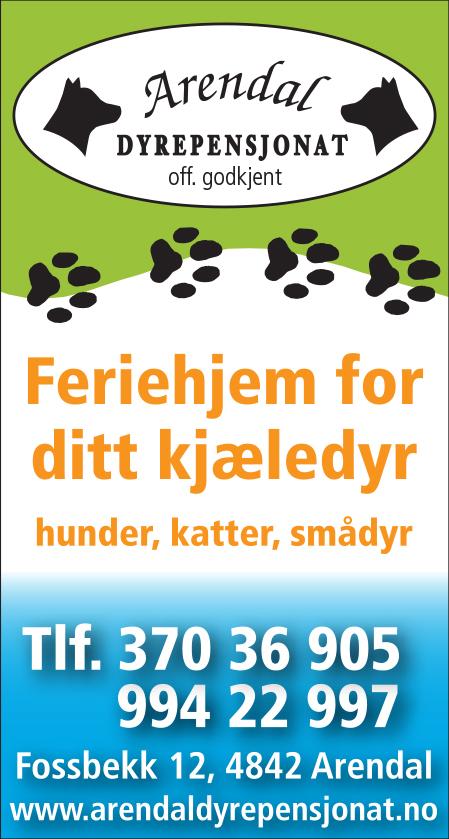 Feriehjem for ditt kjæledyr. Hunder, katter, smådyr. Tlf. 37036905/99422997. Fossbekk 12,4842 Arendal.
