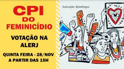 Peça digital com chamada para acompanhamento da CPI do Feminicídio (RJ)