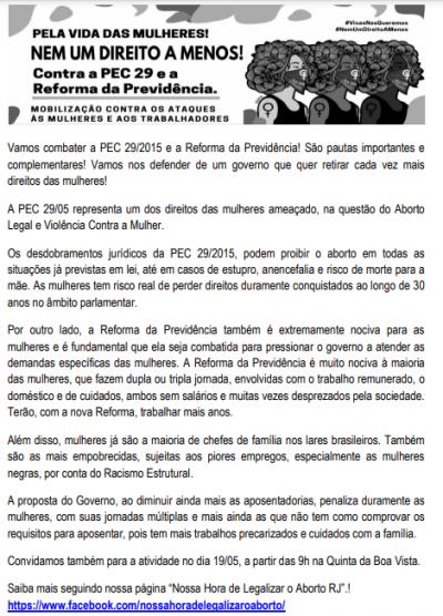 Panfleto contra a PEC 29 e a Reforma da Previdência