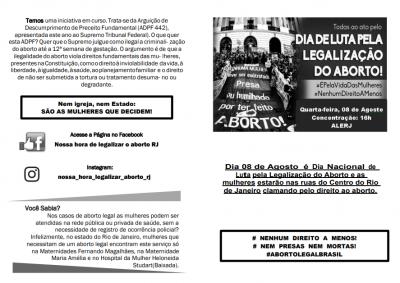 Panfleto para Dia Nacional de Luta pela Legalização do Aborto