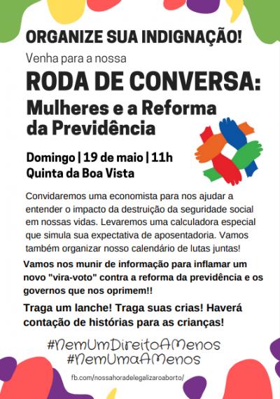 """Panfleto para evento com o tema """"Mulheres e a Reforma da Previdência"""""""