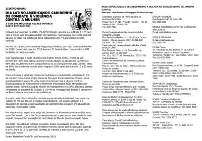 Panfleto para Dia Latino Americano e Caribenho de Combate à Violência Contra a Mulher