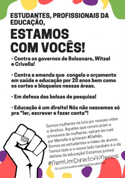 Panfleto em defesa de estudantes e profissionais da educação contra cortes