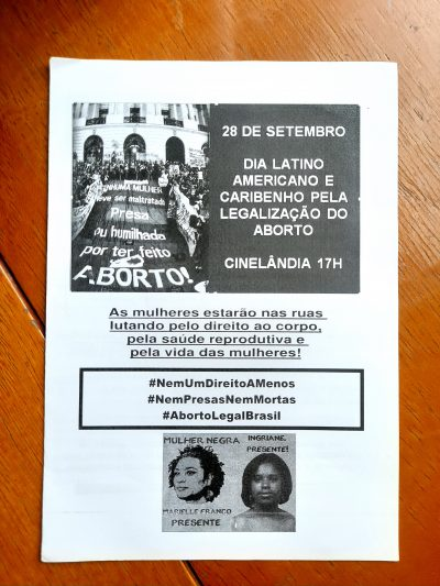 Panfleto para Dia Latino-Americano e Caribenho pela Legalização do Aborto