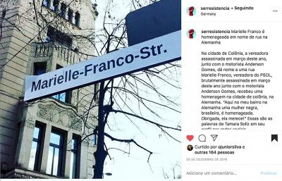Placas da Rua Marielle Franco no mundo