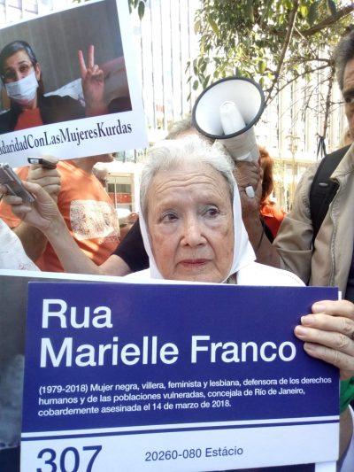 Coletivo Passarinho: placas Rua Marielle Franco em Buenos Aires