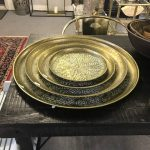 Metal tray green brass 58 cm
