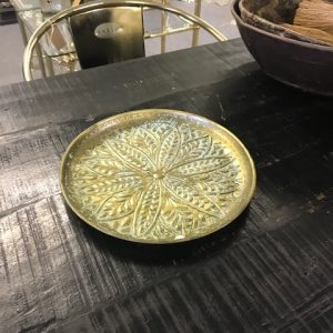Metal tray green brass  28 cm