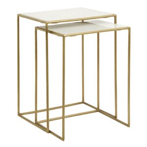 Side tables, s/2, white marble