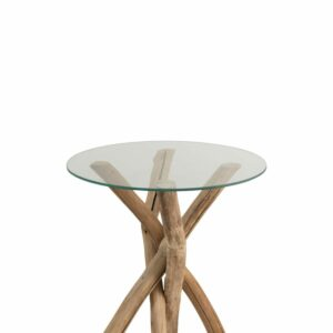 SIDETABLE ROUND/GLASS-WOOD