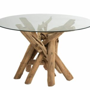 TABLE ROUND WOOD –  GLASS