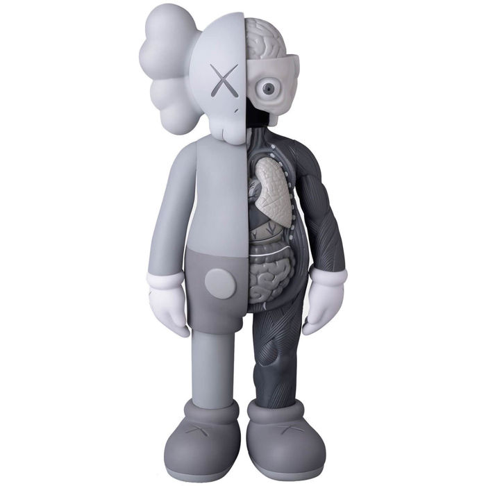 KAWS Companion Flayed, 2016 Open Edition, Vinyl Grey, H 28 cm