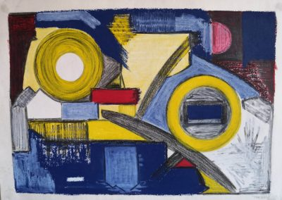 1 South Spain 2003. Blue, yellow and red. Rhythmic circles. Oil pastel and pencil on paper