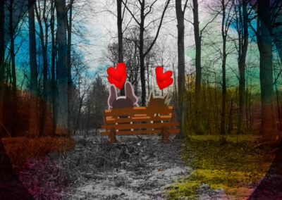 Dogs in love at Dutch forest.2020