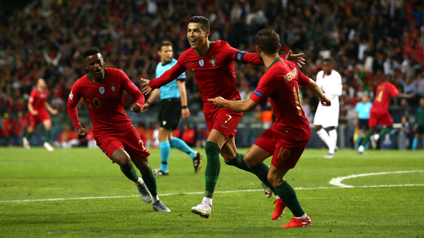 Portugal captain Cristiano Ronaldo celebrates his second goal against Switzerland