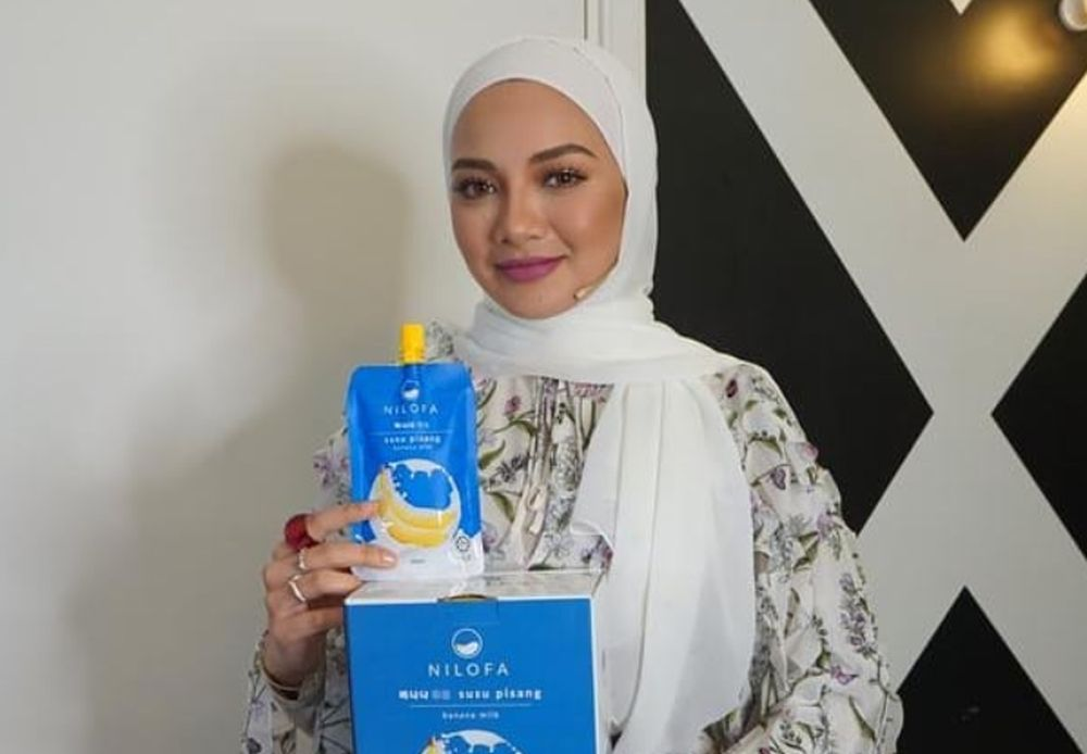 Neelofa's newest product, Nilofa banana milk drink, has come under fire recently from social media users for its 'too good to believe' benefits. — Picture via Instagram/@nilofa.hq
