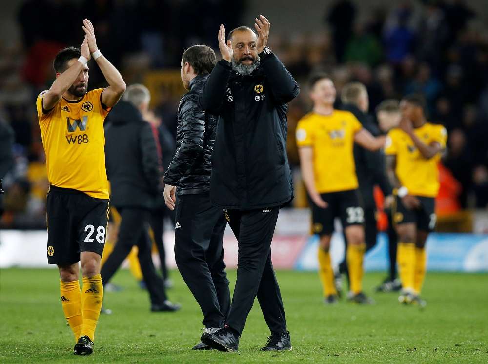 Wolverhampton Wanderers manager Nuno Espirito Santo applauds fans after the match against Manchester United at the Molineux Stadium in Wolverhampton April 2, 2019. — Reuters pic