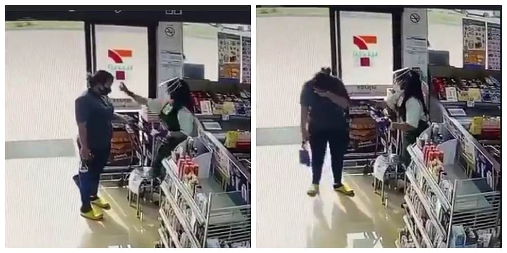 The tearful moment after the 7-Eleven staff mistakenly sprayed hand sanitiser into the customer's eyes. — Screenshot courtesy of Facebook/ meedee2000